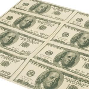 SERWETKI papierowe 100 dolarówka 10 szt