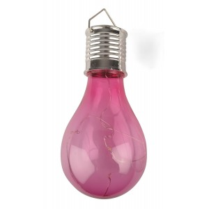LAMPION SOLARNY żarówka różowa