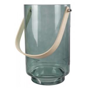 LAMPION szklany niebieski 25cm