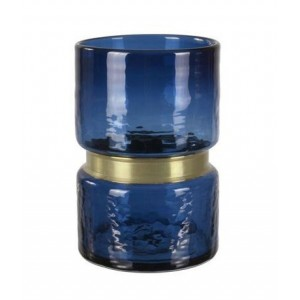 WAZON SZKLANY / metalowy niebieski wys. 20cm