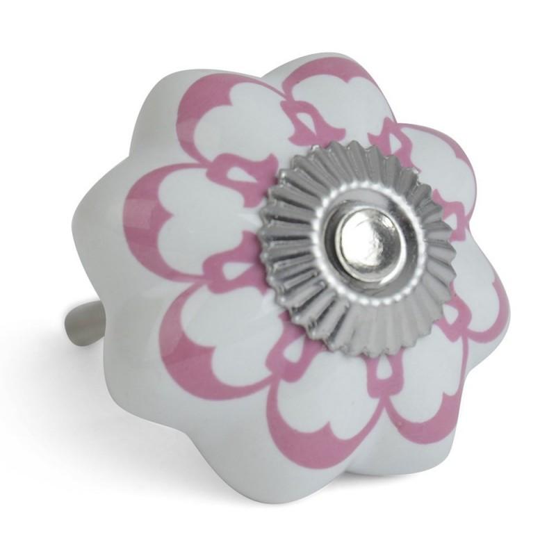 GAŁKA do mebli CERAMICZNA różowa biała 4cm
