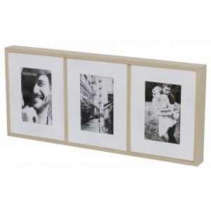 RAMKA DREWNIANA BIAŁA na 3 zdjęcia 52x23cm