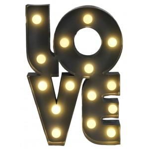 "LAMPA LED ""LOVE"" szara 31x21cm"