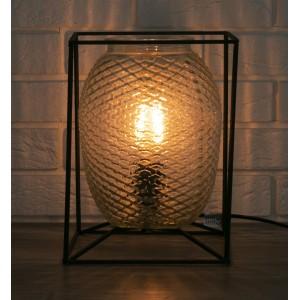 LAMPA stołowa METALOWA SZKLANA wys. 28cm