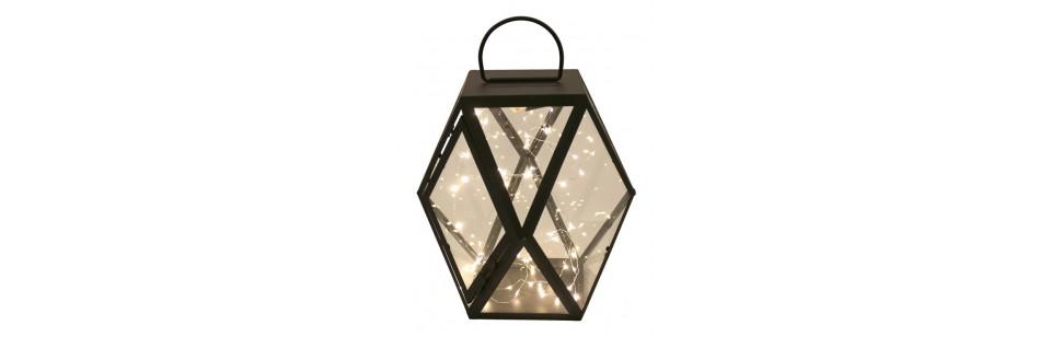 Lampiony drewniane, metalowe, wiszące szklane do salonu pokoju - Sklep